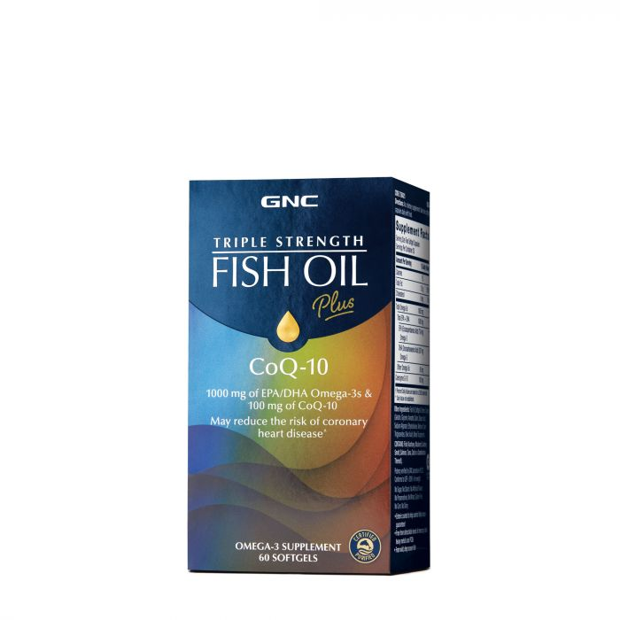 GNC TRIPLE STRENGTH FISH OIL COQ-10 60SG 736021