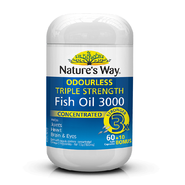 NATURES WAY TRIPLE STRENGTH FISH OIL 60+10 S